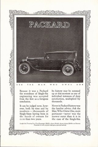 1923 Packard Single Six Sport Touring Car classic print ad