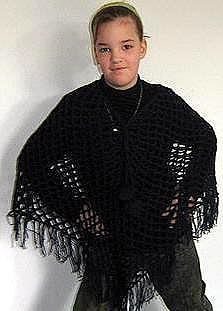 Crocheted black Poncho,made of  Alpacawool