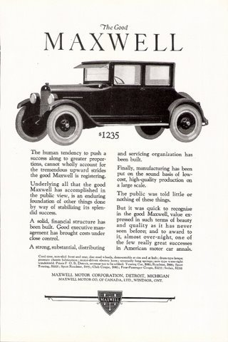 1923 Maxwell Motor The Good Maxwell Automobile print ad