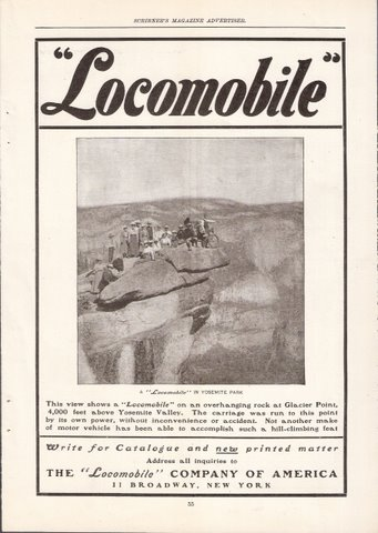 1901 Locomobile at Yosemite Park Glacier Point print ad