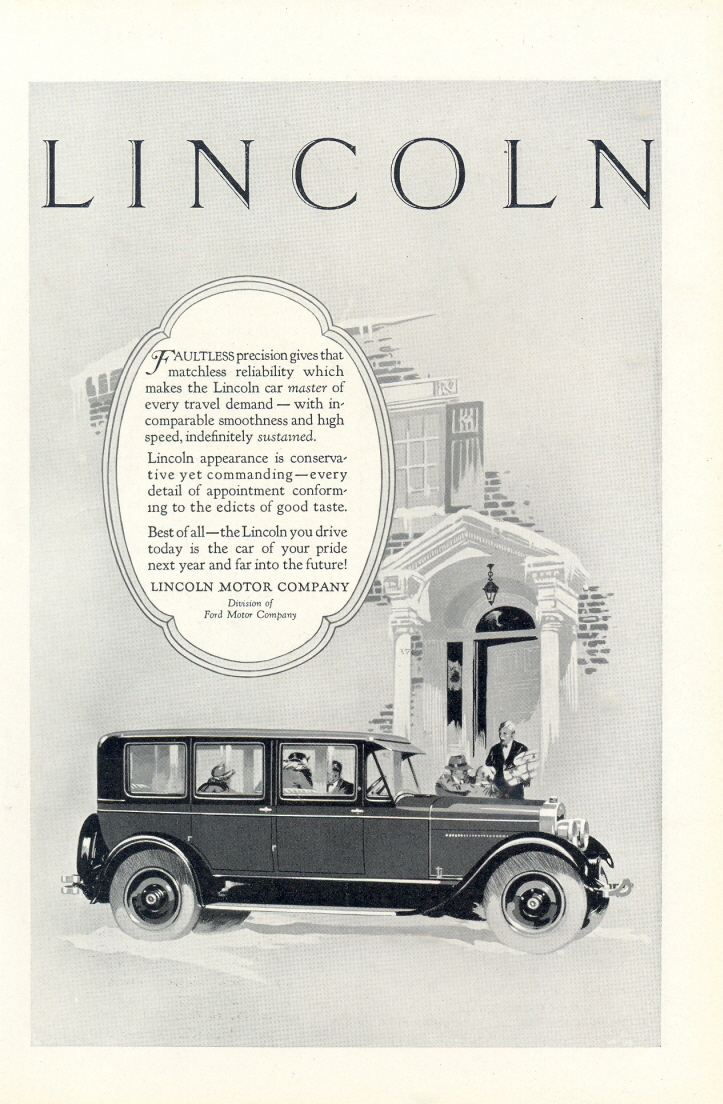 1926 Lincoln Car Faultless Precision vintage print ad