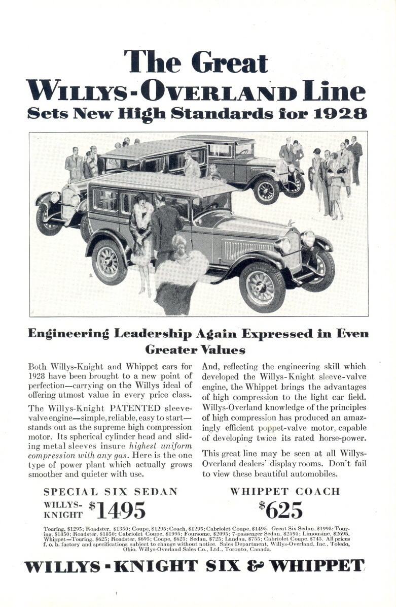 1928 Willys Overland Knight Six Whippet Coach Sedan print ad
