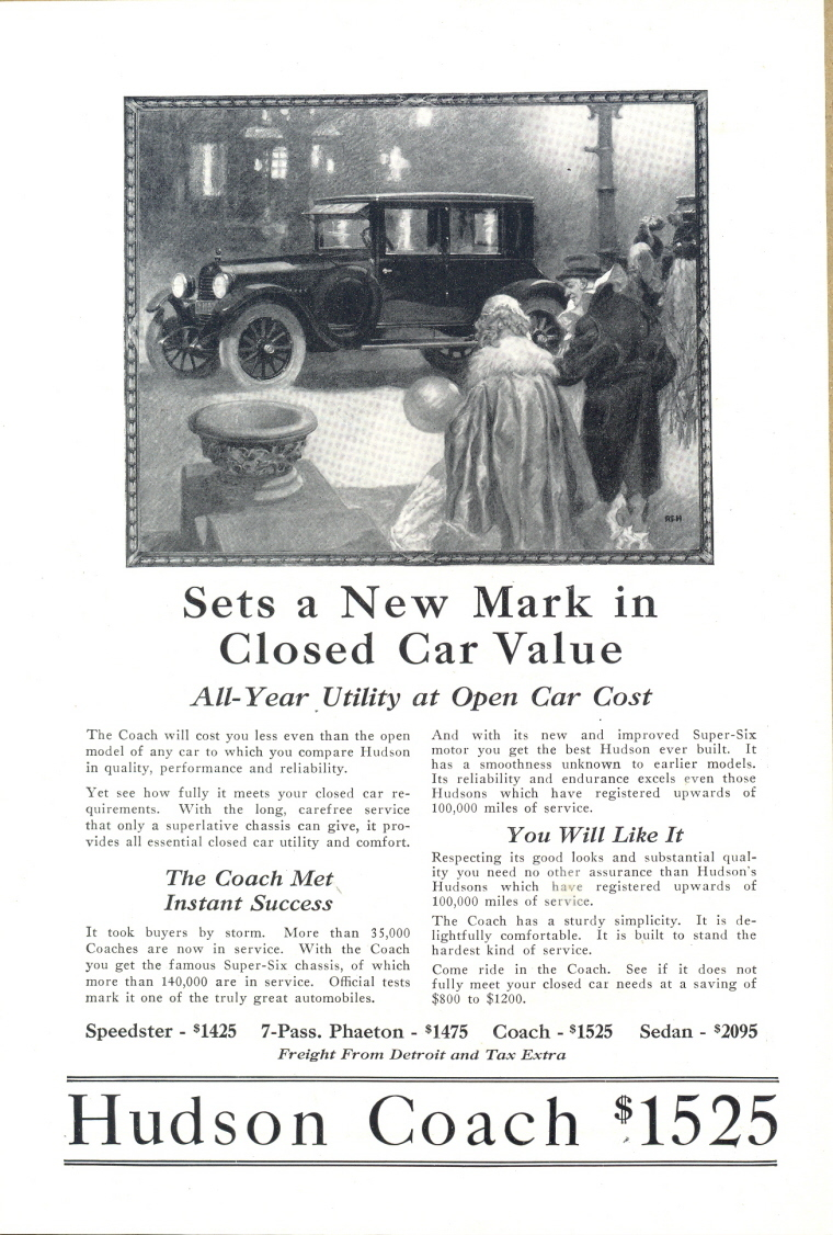 1924 Hudson Coach Closed Car classic vintage print ad