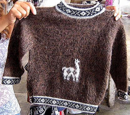 Brown Toddlers sweater,Alpacawool with typical designs