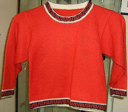 Boys Red Sweater, Alpacawool knitted, Peruvian Design, Roundneck