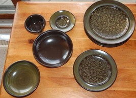 Fransiscan MADEIRA Lot Bowls Plates Mid Century Modern TV Stamp Brown Gr... - $48.99