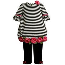 Bonnie Jean Little Girl 2T-6X Stripe Rosette Border Bubble Knit Dress/Legging Se
