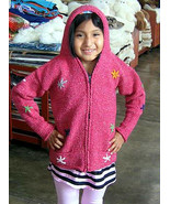 Pink hooded cardigan made of alpacawool  - $64.00