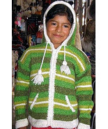 Green hooded cardigan, Jacket made of Alpacawool  - $54.00