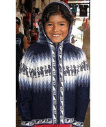 Blue hooded Cardigan,jacket made of alpacawool  - $54.00