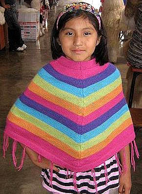 Colorful Poncho for girls,Cape made of alpaca wool