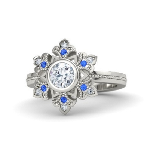 Round diamond 14k white gold ring with blue sapphire and diamond