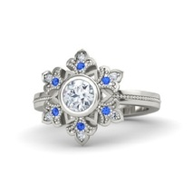 Round diamond 14k white gold ring with blue sapphire and diamond thumb200