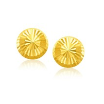 14k Yellow Gold 0.38in Women's Diamond Cut Flat Design Stud Earrings - $148.61