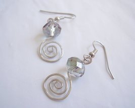 Spirals Iris Crystal Drop Earrings Handmade - $12.50