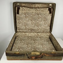 Vintage Hartmann Tweed Leather Strapped Luggage Suitcase Large Paisley L... - $118.75