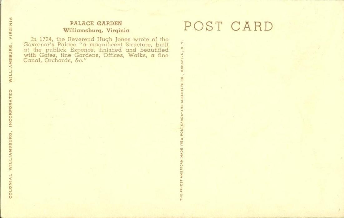 Palace Garden, Governor's Palace, Williamsburg, Virginia, early 1900s Postcard