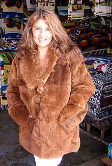 Brown pelt Jacket, coat made of Babyalpaca pelt