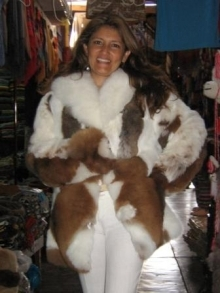 White and brown baby alpaca fur jacket, Size 2X-Small