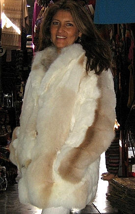 White baby alpaca fur jacket with light brown spots, 2X-Small