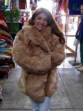 Brown midi jacket in babyalpaca fur, outerwear