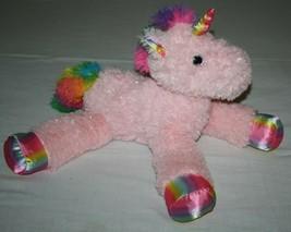 "PINK Unicorn 23"" RAINBOW Feet Tail Sparkle Plush MTY Intl Large Stuffed ... - $43.51"