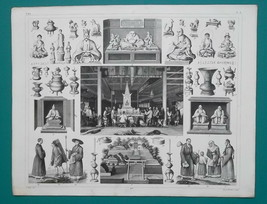MYTHOLOGY China Japan Idols Worship of Fo Nuns Monks - SUPERB 1844 Antiq... - $24.84