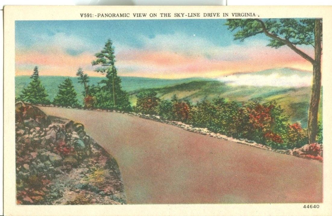 Panoramic view on the Sky-Line drive in Virginia, unused Postcard