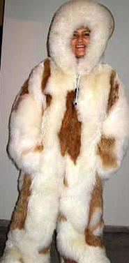 White hooded overall with brown spots, baby alpaca fur, 2X - Small