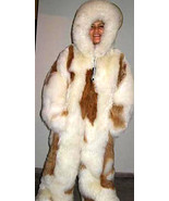 White hooded overall with brown spots, baby alpaca fur, 2X - Small - $1,750.00