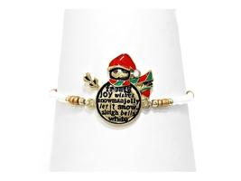 Gold Burnished Christmas Snowman Stretch Bracelet - ₨718.30 INR