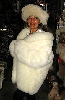 Set of a white Baby alpaca fur jacket with white and black hat, Size 2X - Small