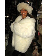Set of a white Baby alpaca fur jacket with white and black hat, Size 2X ... - $863.00