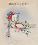 Vintage Christmas Card Dad Sign Post Farm House 1940s Paramount - $5.93