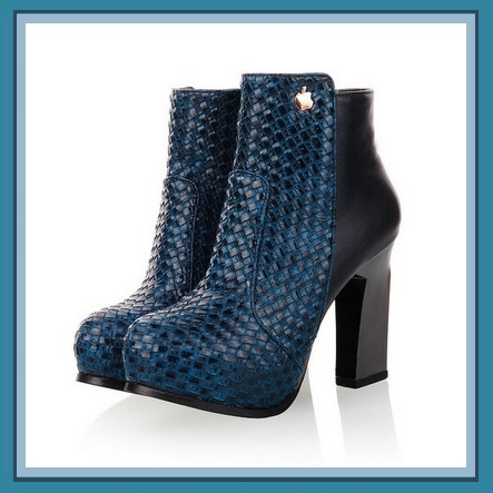 Retro Blue Black or Tan Snakeskin Faux Leather Martin Heel Fashion Ankle Boot