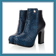 Retro Blue Black or Tan Snakeskin Faux Leather Martin Heel Fashion Ankle... - ₹8,417.60 INR