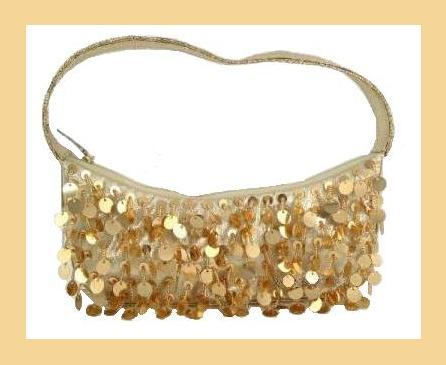Gold dangling bead   sequin purse