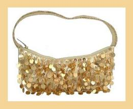 Gold Sequins Seed Beaded Satin Purse Handmade Handbag - $19.99