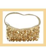 Gold Sequins Seed Beaded Satin Purse Handmade Handbag - $19.99