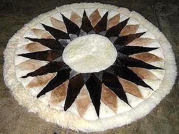 Original alpaca fur carpet directly from Peru, Nautika 100 cm diameter