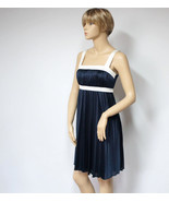 Navy Blue Mini Dress Accordion Pleat Empire Waist Sun Dress - $34.00