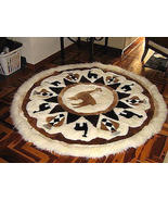 Round alpaca fur motive carpet from the Andean ... - $589.70