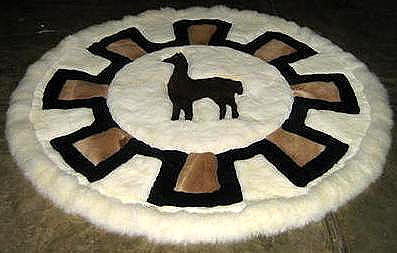 Round alpaca fur carpet, original from Peru, 140 cm Diameter