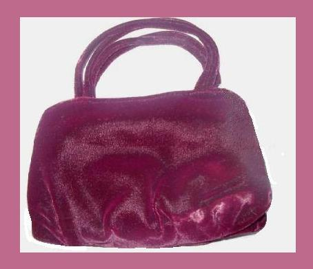 Primary image for Burgundy Velvet & Satin 2 Straps Purse Handbag Evening Bag