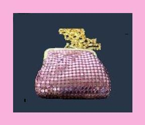 Primary image for Pink Metallic Mesh Leather Mini Change Purse Evening Bag