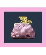 Pink Metallic Mesh Leather Mini Change Purse Evening Bag - $19.99