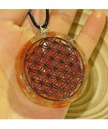 Selenite Pendant Copper  Flower Of Life  Orgonite EMF Orgone With Cord R... - $23.75