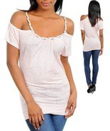 Light Pink Cutout Shoulder Chain Neck Design St... - $15.64