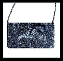Black Beaded Satin Bead Strap Purse Handbag Evening Bag - $19.99