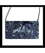 Black Beaded Satin Bead Strap Purse Handbag Evening Bag - $19.99